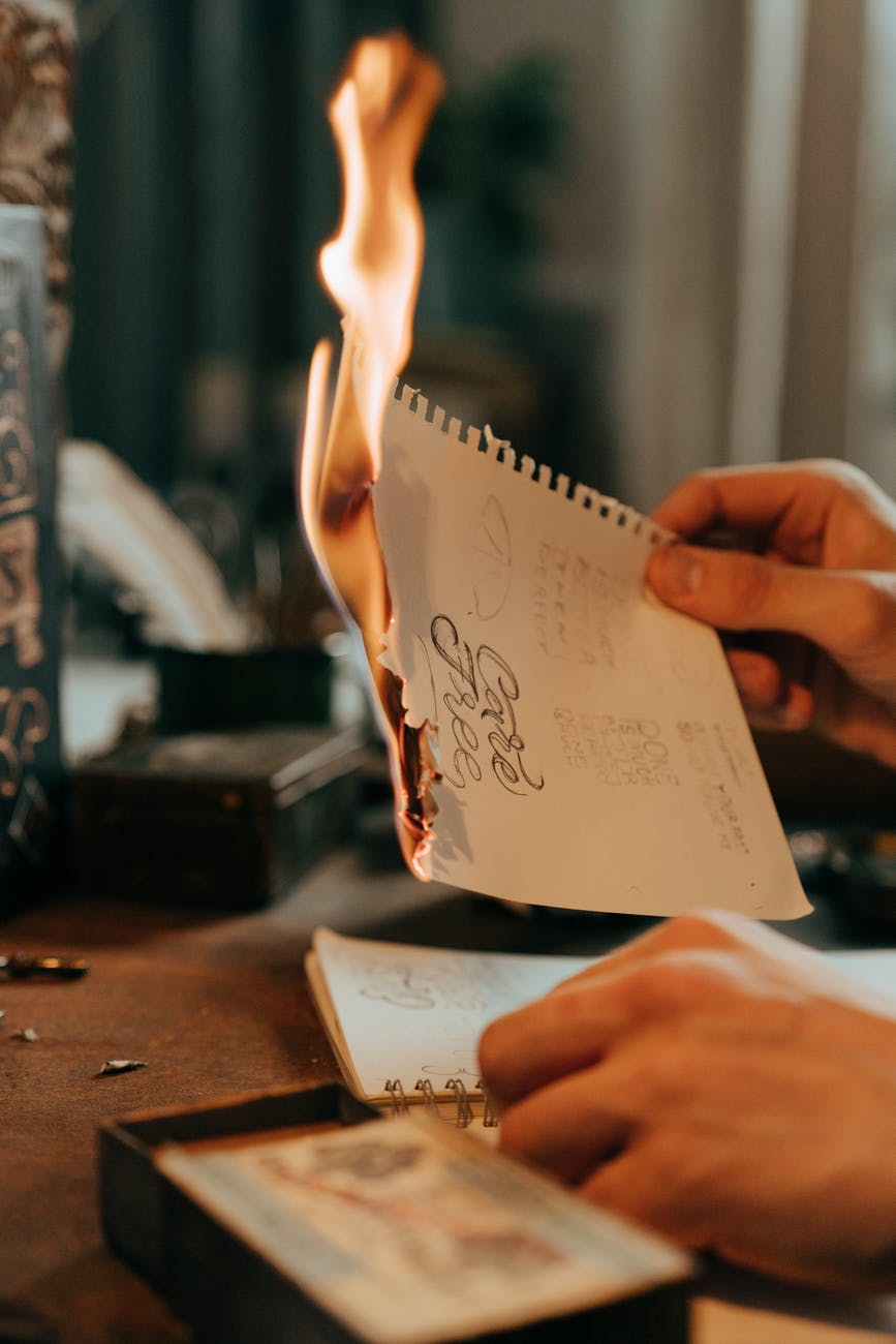 Burning a paper in regret