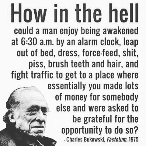 Charles Bukowski quote on everyday life